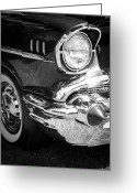 Fifties Buick Greeting Cards - 57 Chevy Black Greeting Card by Steve McKinzie