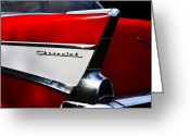 Classic Auto Greeting Cards - 57 Chevy Tailfin Greeting Card by Bill Cannon
