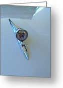 Car Hod Greeting Cards - 57 Fairlane 500 Emblem Greeting Card by Nick Kloepping