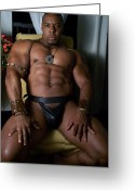 Abs Greeting Cards - Male Muscle Art Greeting Card by Jake Hartz