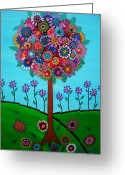 Turkus Greeting Cards - Tree Of Life Greeting Card by Pristine Cartera Turkus