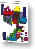 Bright Drawings Greeting Cards - Untitled Greeting Card by Teddy Campagna
