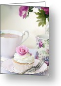 Cup Cakes Greeting Cards - Afternoon tea Greeting Card by Ruth Black