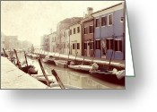 Venice Waterway Greeting Cards - Burano Greeting Card by Joana Kruse