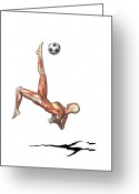 Kicking Football Greeting Cards - Female Muscles, Artwork Greeting Card by Friedrich Saurer
