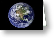 United States Map Greeting Cards - Full Earth Showing North America Greeting Card by Stocktrek Images