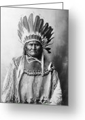 Headdress Greeting Cards - Geronimo (1829-1909) Greeting Card by Granger