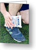 Soccer Sport Greeting Cards - Injured Ankle Greeting Card by Photo Researchers