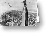 Airplane Greeting Cards - King Kong, 1933 Greeting Card by Granger