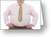 Hand On Hip Greeting Cards - Overweight Man Greeting Card by