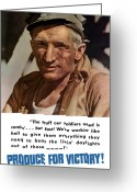 Military Production Greeting Cards - Produce For Victory Greeting Card by War Is Hell Store
