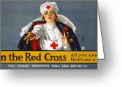 Lithograph Greeting Cards - Red Cross Poster, 1917 Greeting Card by Granger