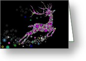 Xmas Greeting Cards - Reindeer design by snowflakes Greeting Card by Setsiri Silapasuwanchai