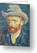 Brushstroke Greeting Cards - Self Portrait Greeting Card by Vincent Van Gogh