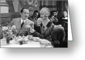 Corsage Greeting Cards - Silent Film: Restaurant Greeting Card by Granger