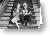 Autograph Greeting Cards - Silent Film Still: Sports Greeting Card by Granger