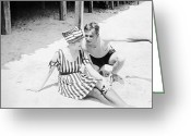 Roaring Twenties Greeting Cards - Silent Still: Beach Greeting Card by Granger
