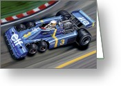 Wheel Greeting Cards - 6 Wheel Tyrrell P34 F-1 Car Greeting Card by David Kyte