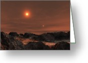Binary Stars Greeting Cards - 61 Cygni, A Binary Star System Greeting Card by Andrew Taylor