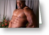 Men In Black Greeting Cards - Male Muscle Art Greeting Card by Jake Hartz