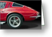 Red Car Greeting Cards - 64 Corvette Take Off Greeting Card by Kurt Golgart