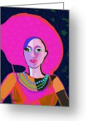 Pearls Greeting Cards - 656 - Woman With Summer Hat Greeting Card by Irmgard Schoendorf Welch