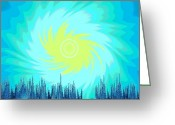 Sun Abstract Digital Art Greeting Cards - 658 -  Phenomenon Greeting Card by Irmgard Schoendorf Welch