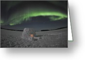 Wispy Greeting Cards - Aurora Borealis Over An Igloo On Walsh Greeting Card by Jiri Hermann