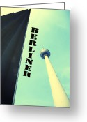 Sw Mixed Media Greeting Cards - Berlin TV Tower Greeting Card by Falko Follert