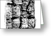 Recycling Photo Greeting Cards - Compressed pile of paper products Greeting Card by Bernard Jaubert
