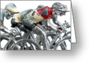 Metallic Greeting Cards - Cyclists Greeting Card by Bernard Jaubert