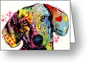 Portraits Mixed Media Greeting Cards - Dachshund Greeting Card by Dean Russo
