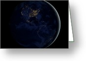 United States Map Greeting Cards - Full Earth At Night Showing City Lights Greeting Card by Stocktrek Images