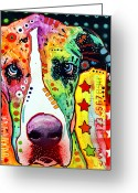 Pop Art Mixed Media Greeting Cards - Great Dane Greeting Card by Dean Russo