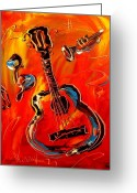 Leaned Greeting Cards Greeting Cards - Guitar Greeting Card by Mark Kazav