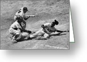 Catcher Greeting Cards - Jackie Robinson (1919-1972) Greeting Card by Granger