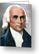 Cravat Greeting Cards - James Madison (1751-1836) Greeting Card by Granger