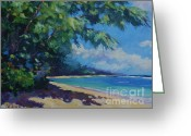 Bay Islands Painting Greeting Cards - 7-Mile Beach Greeting Card by John Clark