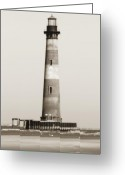 Sepia Greeting Cards - Morris Island Lighthouse  Greeting Card by Dustin K Ryan
