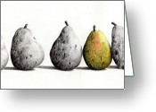 Cowboy Sketches Greeting Cards - 7-Pears Greeting Card by Jack Schilder