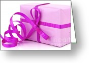 Gift Photo Greeting Cards - Pink gift Greeting Card by Blink Images