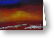 Lam Lam Greeting Cards - Seascape Sunset Greeting Card by Lam Lam