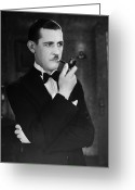 Bowtie Greeting Cards - Silent Film Still: Smoking Greeting Card by Granger