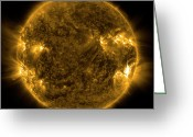 Corona Greeting Cards - Solar Activity On The Sun Greeting Card by Stocktrek Images