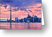 Harbourfront Greeting Cards - Toronto skyline Greeting Card by Elena Elisseeva
