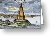 Alexandria Greeting Cards - 7 Wonders Of The World, Lighthouse Greeting Card by Photo Researchers, Inc.
