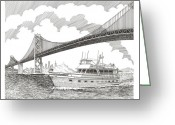 San Francisco Drawings Greeting Cards - 70 foot Hatteras San Francisco Adventure Greeting Card by Jack Pumphrey