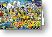 Roll Greeting Cards - 70 illustrated Beatles song titles Greeting Card by Ron Magnes
