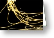 Fluorescence Greeting Cards - Abstract Lighting Effect  Greeting Card by Setsiri Silapasuwanchai
