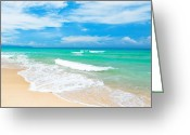 Caribbean Sea Greeting Cards - Beach Greeting Card by MotHaiBaPhoto Prints
